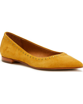 Frye Women's Mustard Sienna Micro Stud Ballet Flats - Pointed Toe, Light/pastel Yellow, hi-res
