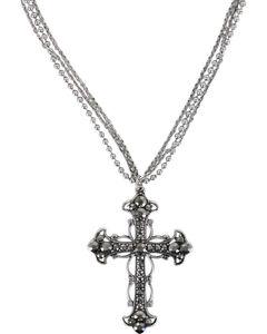 Shyanne Women's Rhinestone Cross Necklace, Silver, hi-res