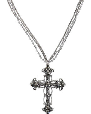 Shyanne Women's Rhinestone Cross Necklace, Silver, hi-res