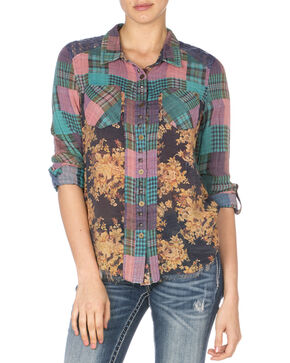 Miss Me Women's Teal Mix Match Plaid Top, Teal, hi-res