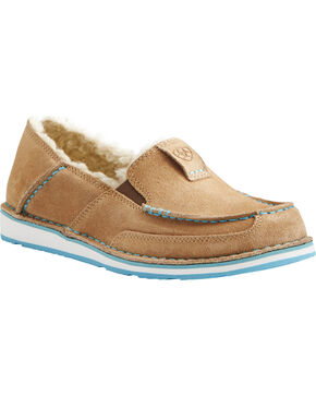 Ariat Women's Fleece Cruiser Shoes - Moc Toe, Taupe, hi-res