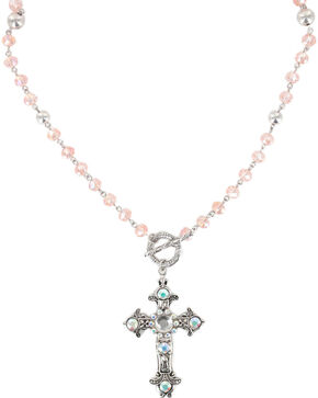 Shyanne Women's Vintage Cross Necklace , Pink, hi-res