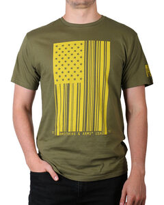 Brothers & Arms Men's Green Bar Code Flag Tee , Green, hi-res