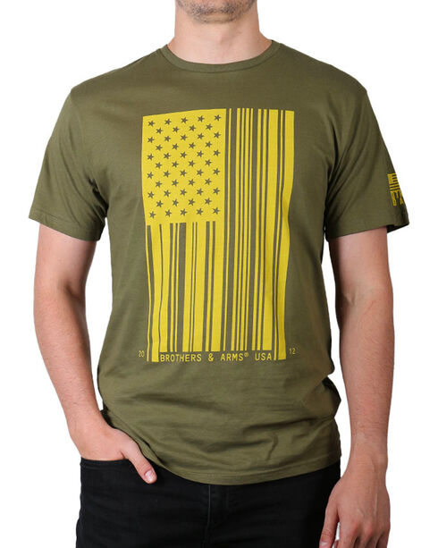 Brothers & Arms Men's Green Bar Code Flag Tee , Green, hi-res