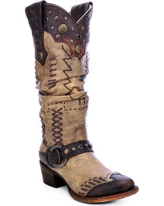 Corral Women's Studded Slouch Cowgirl Boots - Round Toe, Brown, hi-res