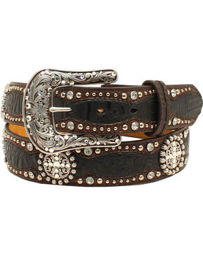 Ariat Women's Faux Gator Concho Belt, Black, hi-res
