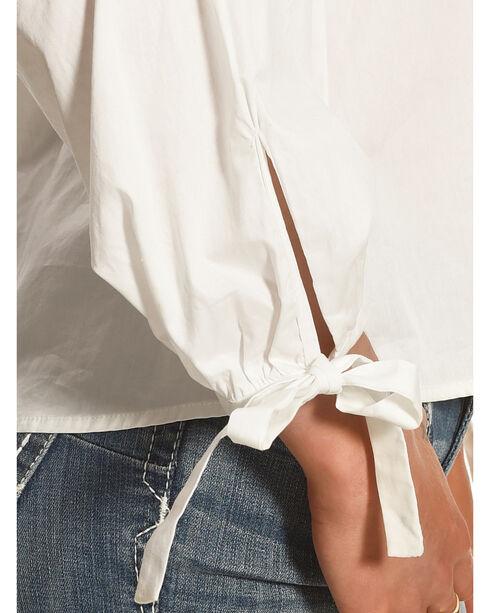 Polagram Women's Long Sleeve V-Neck Top , White, hi-res