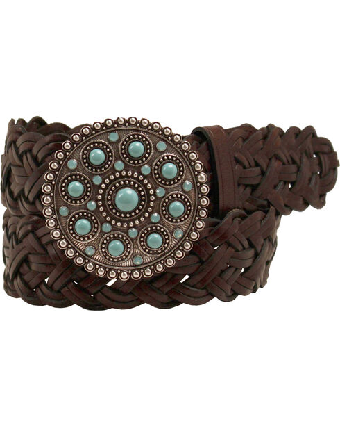 Ariat Braided Strap Bound Buckle Belt, Brown, hi-res