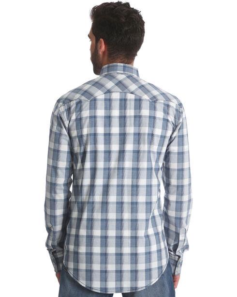 Wrangler Retro Men's Plaid Sawtooth Pocket Snap Shirt - Tall, Blue, hi-res
