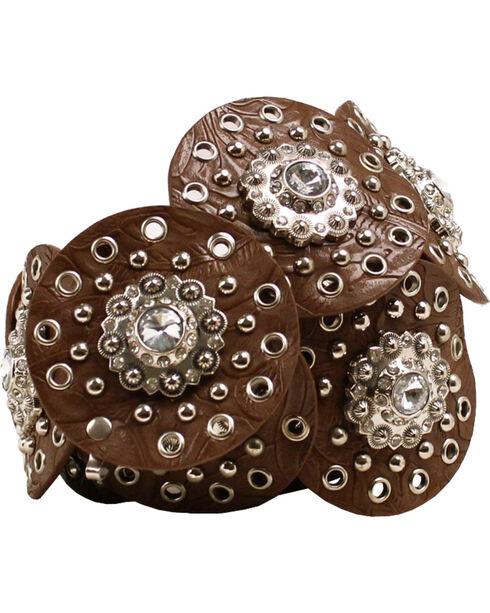 Nocona Wide Concho Disk Waist Belt, Brown, hi-res