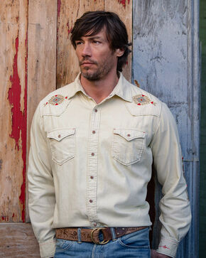 Ryan Michael Men's Sand Washed Embroidered Shirt , Sand, hi-res