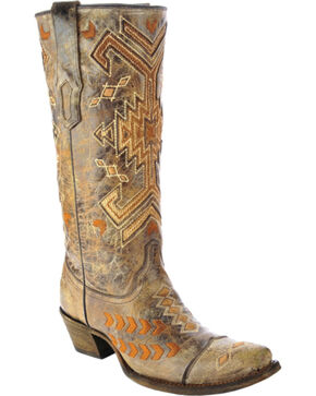 Corral Multicolored Jute Inlay Cowgirl Boots - Square Toe, Brown, hi-res