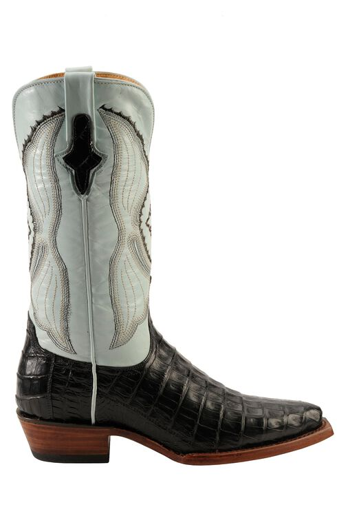 Ferrini Powder Blue Caiman Belly Cowgirl Boots - Snip Toe, Black, hi-res
