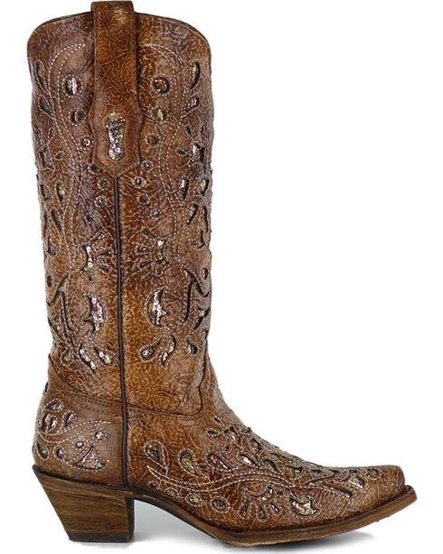 Corral Women's Sequin Inlay Western Boots - Snip Toe, Brown, hi-res