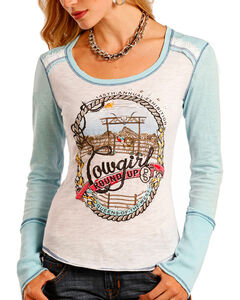 Panhandle Women's Cowgirl Roundup Long Sleeve Knit Tee, Light/pastel Blue, hi-res