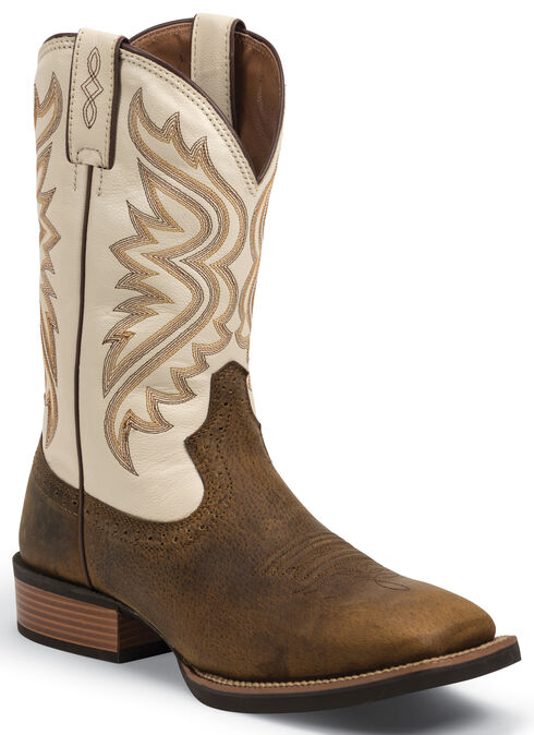 Justin Men's Whiskey Brown Silver Collection Cowboy Boots- Square Toe , Whiskey, hi-res