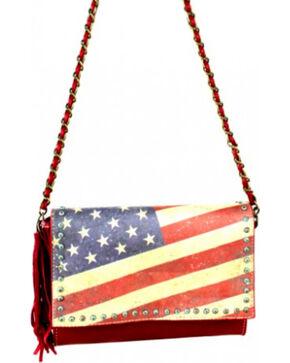 Montana West Vintage America Flag Crossbody Handbag, Red, hi-res