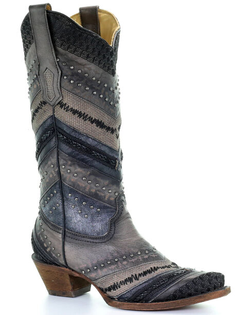 Corral Women's Embroidery and Stud Accent Boots - Snip Toe , Grey, hi-res