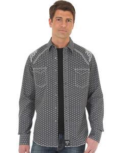 Wrangler Rock 47 Men's Diamond Pattern Two Pocket Snap Shirt - Big & Tall, Black, hi-res