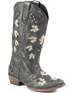 Roper Women's Floral Embroidery Cowgirl Boots - Snip Toe, , hi-res