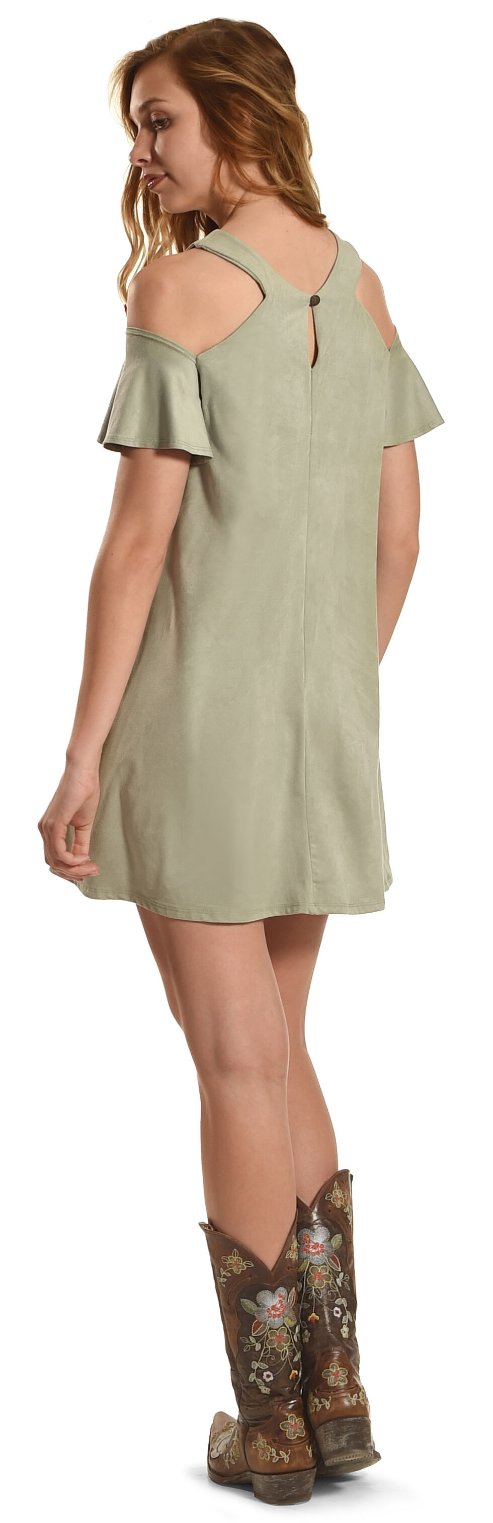Jody of California Women's Sage Cold Shoulder Micro Suede Dress , Sage, hi-res