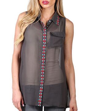 Cowgirl Up Women's Chiffon Embroidered Collar and Placket Sleeveless Shirt, Olive, hi-res