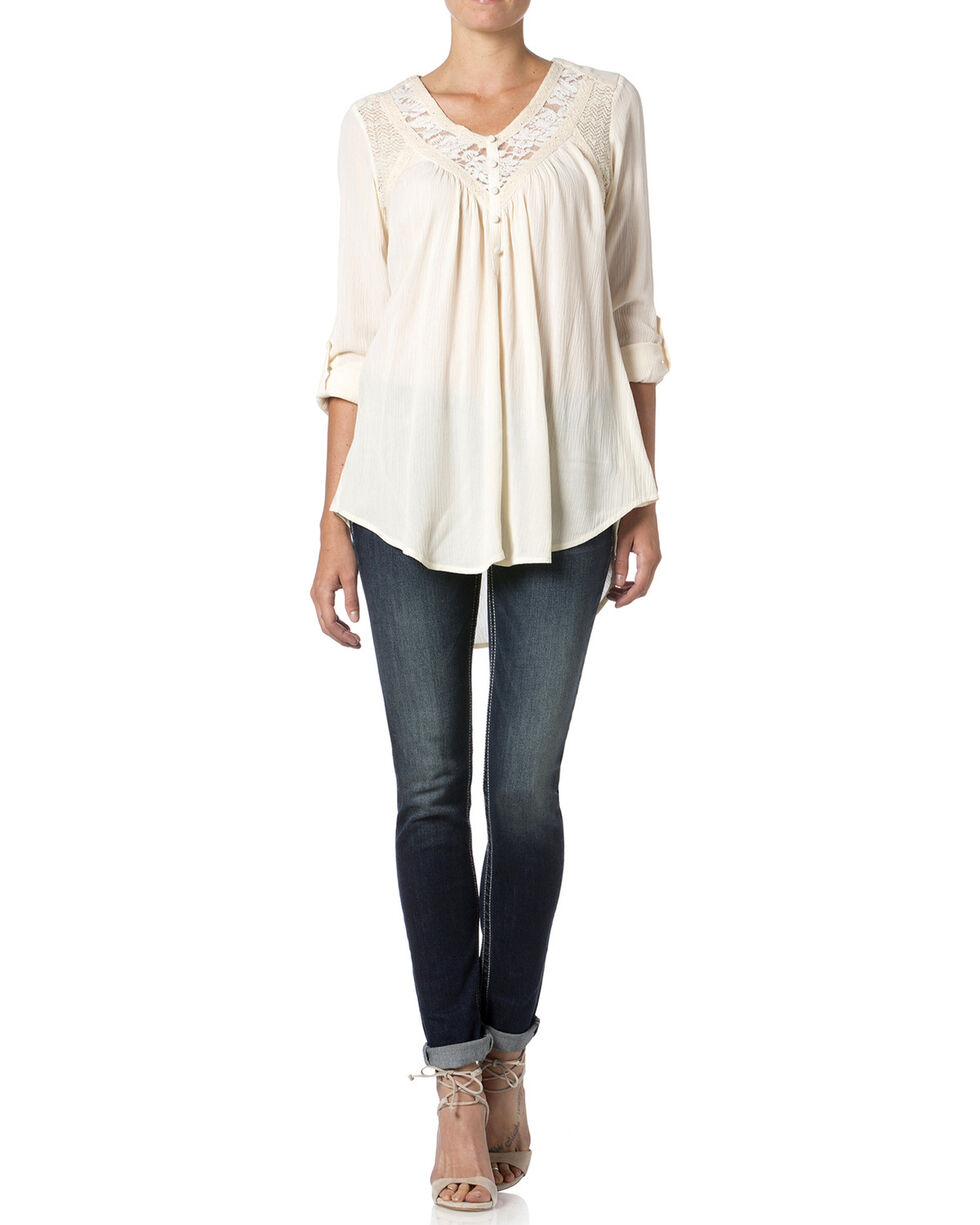 Miss Me Women's Cut-Out Lace Top, Off White, hi-res