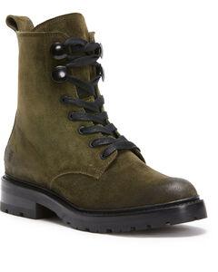 Frye Women's Dark Green Julie Hook Combat Boots - Round Toe, Dark Green, hi-res