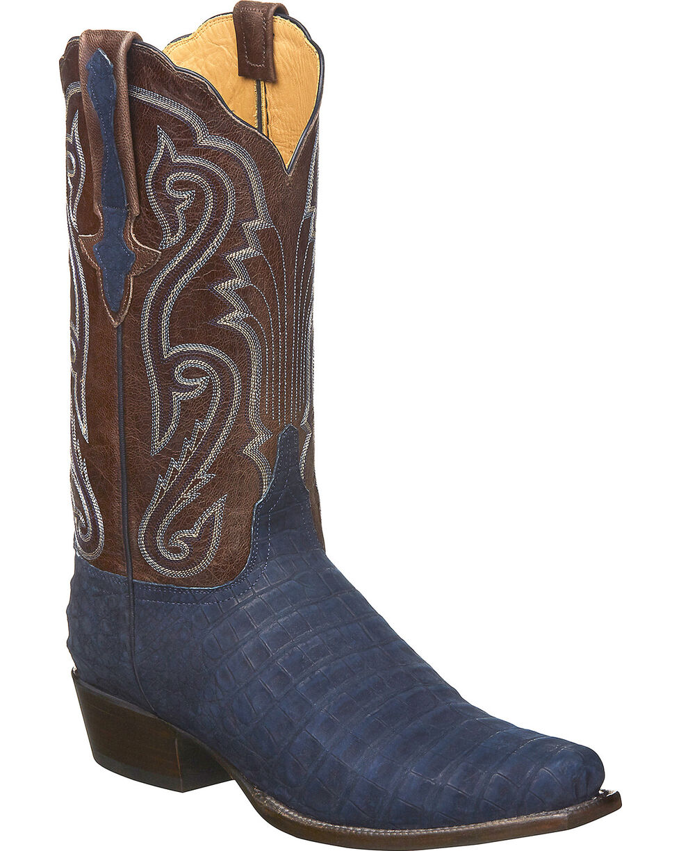 Lucchese Men's Handmade Owen Navy/Cafe Sueded Caiman Belly Western Boots - Square Toe, Navy, hi-res