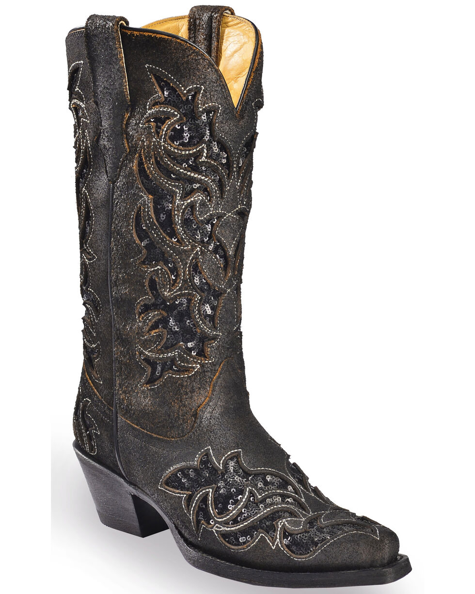 Corral Women's Sequin Inlay Cowgirl Boots - Medium Toe, Brown, hi-res