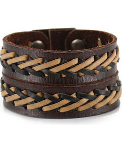 Moonshine Spirit Men's Double Strand Laced Leather Cuff , Brown, hi-res