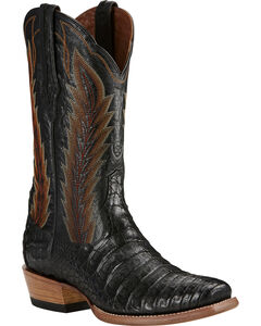 Ariat Black Turnback Caiman Belly Cowboy Boots - Square Toe, , hi-res