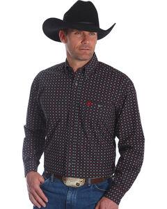 Wrangler Men's Black George Strait Print Long Sleeve Shirt - Big & Tall , Black, hi-res