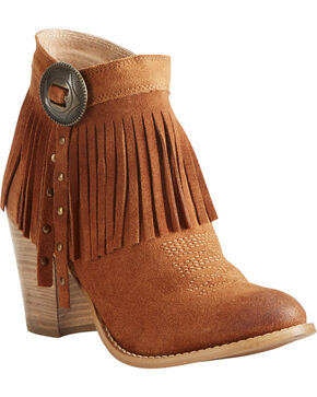 Ariat Women's Unbridled Avery Fringe Concho Boots - Round Toe, Suntan, hi-res