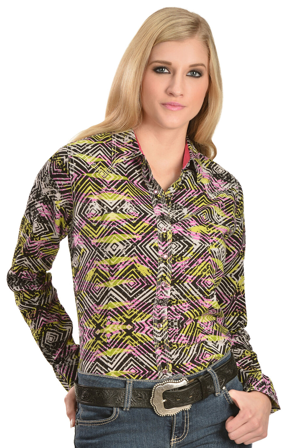 Wrangler Rock 47 Women's Geo Print Western Shirt, Black, hi-res