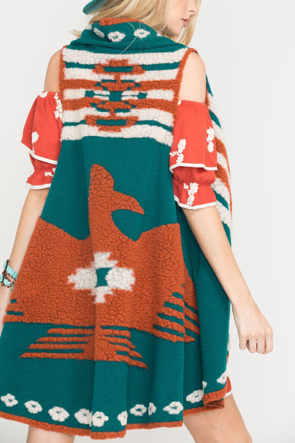 Ryan Michael Women's Thunderbird Shawl, Evergreen, hi-res