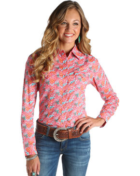 Wrangler Women's Coral Floral Print Shirt , Coral, hi-res