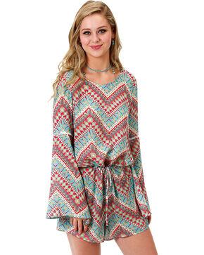 Roper Women's Bell Sleeve Aztec Print Romper, Multi, hi-res