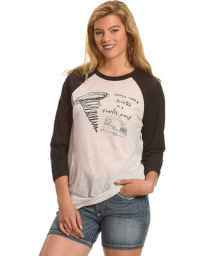 Cowgirl Justice Women's Trailer Park Twister Baseball Tee, White, hi-res