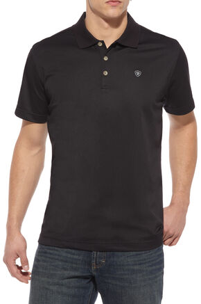Ariat Black Tek Polo Shirt, Black, hi-res