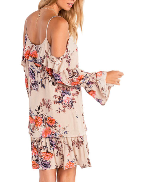 Miss Me Women's Wild Blossoms Peasant Dress , Tan, hi-res