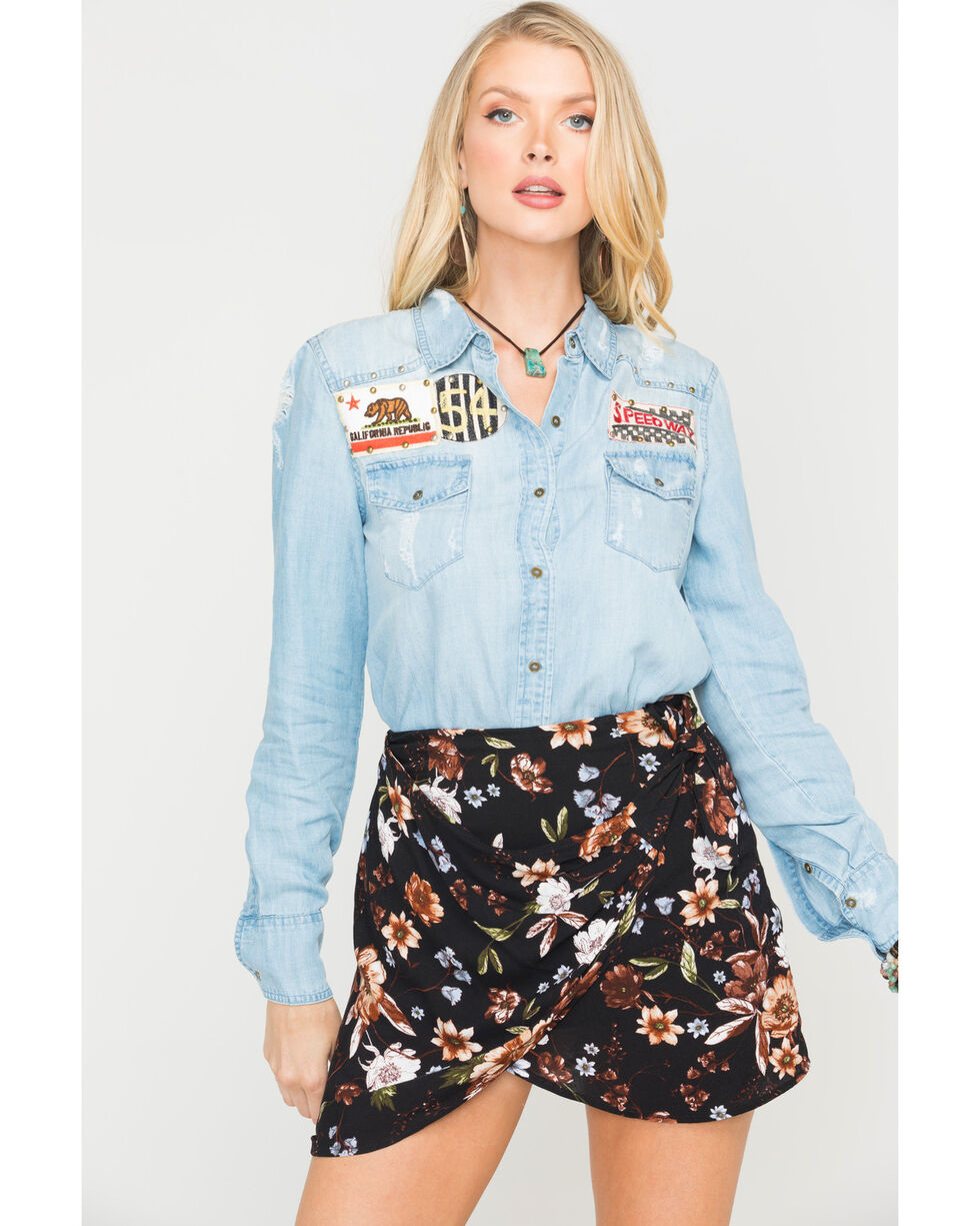 MM Vintage Women's Indigo Patch Denim Shirt , Indigo, hi-res