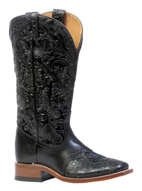 Boulet Hand Tooled Ranger Cowgirl Boots - Square Toe, Black, hi-res