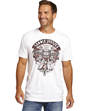 Cowboy Up Men's White Saddle Junkies Short Sleeve Tee , White, hi-res