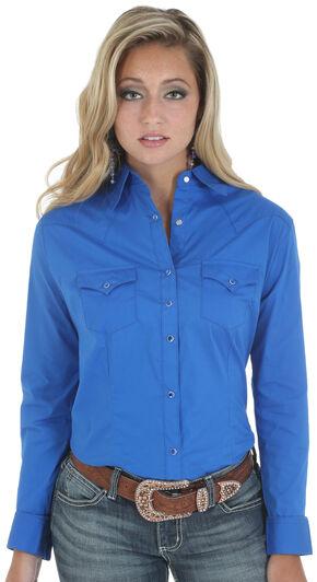 Wrangler Women's Solid Blue Snap Pocket Western Shirt , Blue, hi-res