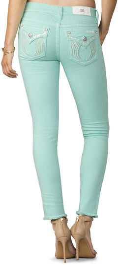Miss Me Women's Mint Condition Mid-Rise Ankle Jeans - Skinny , Lt Green, hi-res