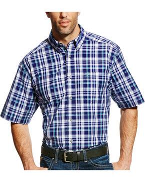 Ariat Men's Pro Series Easton Plaid Short Sleeve Shirt - Big & Tall, Purple, hi-res