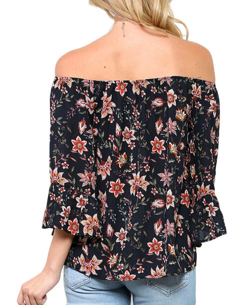 CES FEMME Women's Black Floral Off The Shoulder Bell Sleeve Top , Black, hi-res