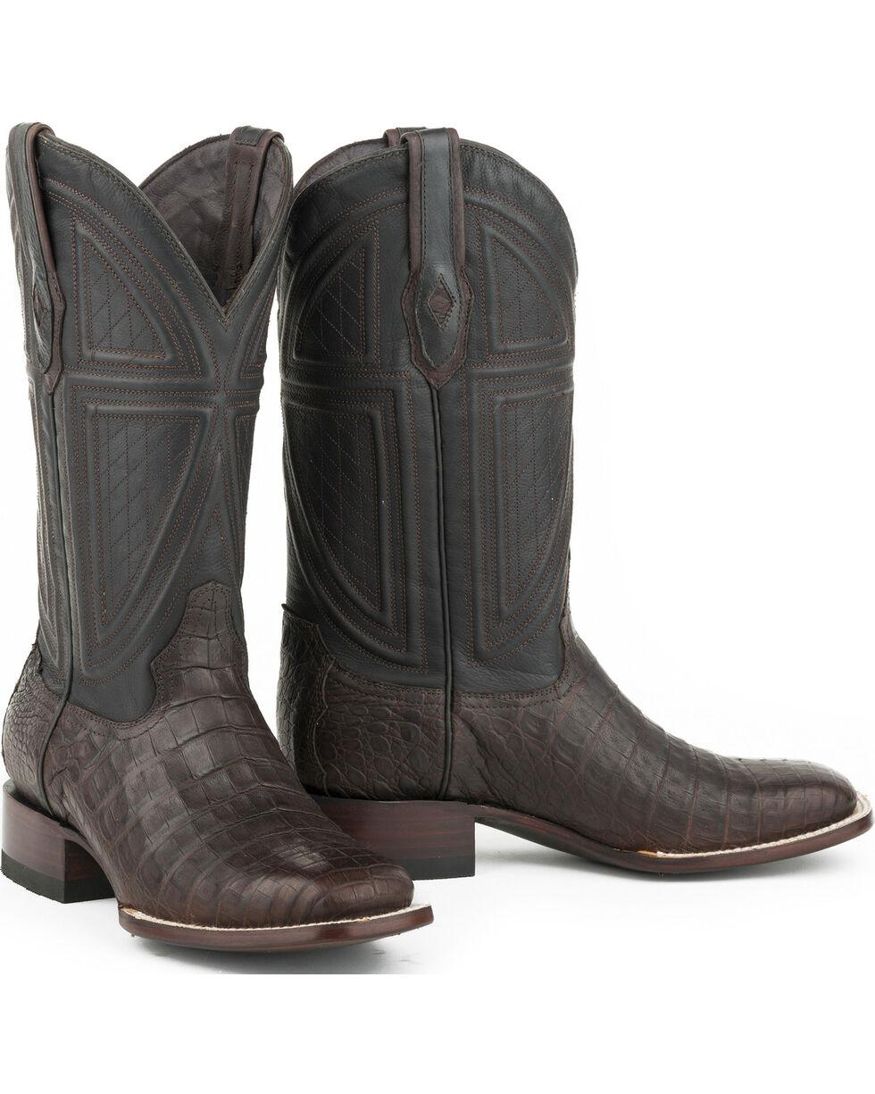 Stetson Men's Black Caiman Belly Vamp Western Boots - Square Toe , Tan, hi-res