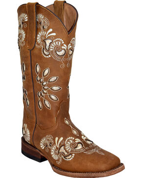 Ferrini Women's Masquerade Cutout Western Boots - Square Toe , Brown, hi-res